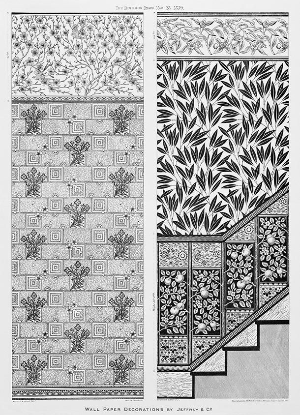 Illustration from 'The Building News', wallpaper decorations by Jeffrey & Co., 1879. Museum no. 29502D-60, © Victoria & Albert Museum, London. Dado and Ground