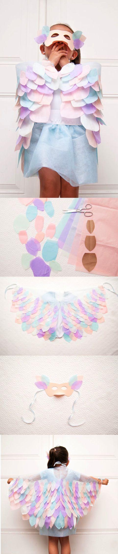 DIY Bird Costume   Clo by Clau! ~ How to make paper bird wings - Cómo hacer alas y antifaz de pájaro de papel #DIY #costume #Spring