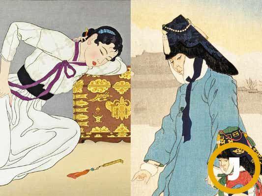 자쿨레의 작품은 색채가 산뜻하고 장식적이고 이국적이다. 심지어 한국을 묘사했는데 한국인이 봐도 이국적일 정도다. '마음의 폭풍, 서울'(사진 왼쪽, 부분)이란 판화를 보면 우키요에 미인도의 전형적인 얼굴과 포즈를 그대로 가져오고 머리 모양과 옷만 한국식으로, 그나마도 부정확하게 바꿨다. 또 다른 판화 '신랑'을 보면 단령(관복)은 입었으나 사모 대신 깃털 달린 전립을 썼고 얼굴은 서양인에 가까운 기이한 모습이다.  [사진 중앙포토]