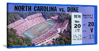 North Carolina football gifts made from authentic North Carolina football tickets. The best football gifts are at http://www.shop.47straightposters.com/1976-Duke-vs-North-Carolina-Football-Ticket-Art-76UNC.htm