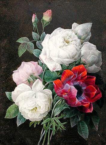 Пьер Redoute Натюрморт с розами и ветреницы 1832