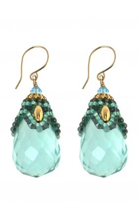 gold filled beaded #gemstone #earrings I designed by miguel ases I NEWONE-SHOP.COM