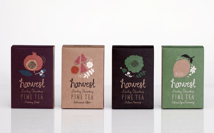 HARVEST 12Food Packaging, Tea Packaging, Darling Clementine, Packaging Design, Graphics Design, Teas Packaging, Harvest Teas, Fine Teas, Harvest Fine