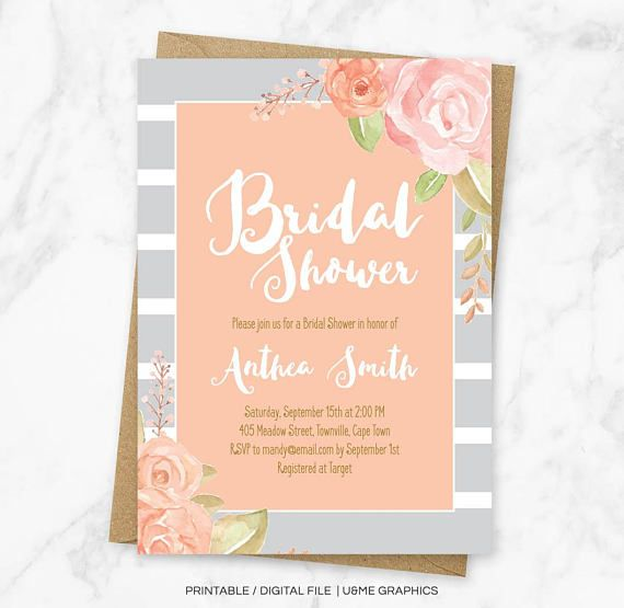 Floral Bridal Shower Invitation Grey Striped Shower