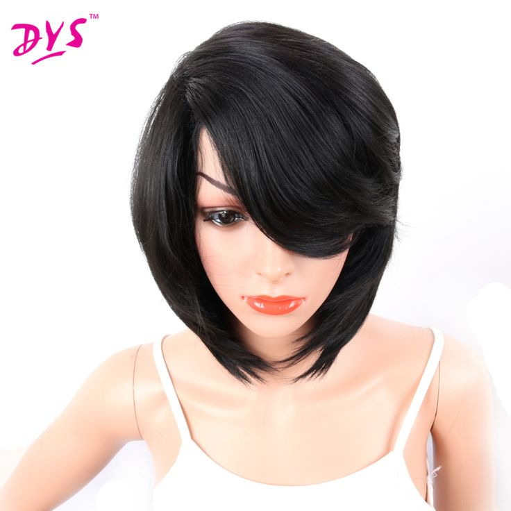 Deyngs 14in Short Pixie Cut Synthetic Wigs For Black African American Women Natural Bob Wigs with Side Bangs Haircuts Kanekalon