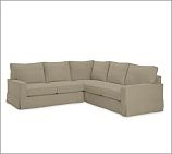PB COMFORT SQUARE 3-PIECE L SHAPED SECTIONAL, DOWN-BLEND CUSHIONS, TWILL SEAGRASS: Squares 3Piec, Downblend Cushions, Twill Seagrass, Pb Comforter, Comforter Squares, Down Blend Cushions, Squares 3 Pieces
