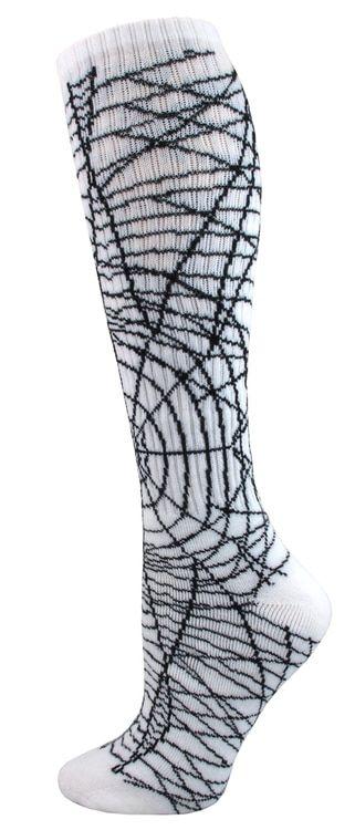 White with Black Spider Web All Sport Socks