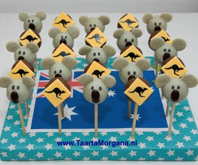 Australia themed Koala and Kangaroo cakepops by TaartaMorgana.nl