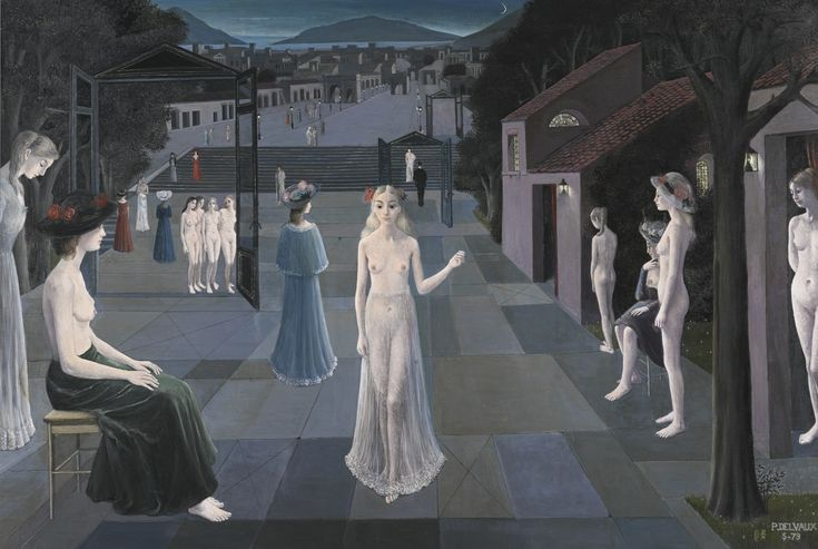 Paul Delvaux 1897 - 1994 LA ROUTE DE ROME Signed P. Delvaux and dated 5-79 (lower right); signed P. Delvaux and titled [La Route de Rome] (on the stretcher) Oil on canvas 63 by 94 1/2 in. 160 by 240 cm Painted in 1979.