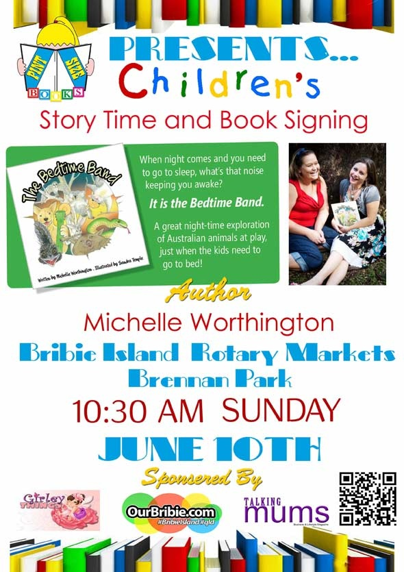 [TO DO!] Bribie parents, don't miss an opportunity to meet children's author Michelle Worthington as she reads her new book to the kids! Sunday June 10 at Brennan Park. For info, visit; http://www.ourbribie.com.au/2012/05/29/talented-childrens-author-comes-to-bribie-island-on-june-10/
