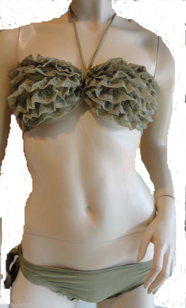 Bikini Costume da Bagno Faanj Donna Frappe pizzo Lovers fascia slip arricciato