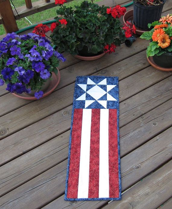 American Flag Patriotic Quilted Wall Hanging