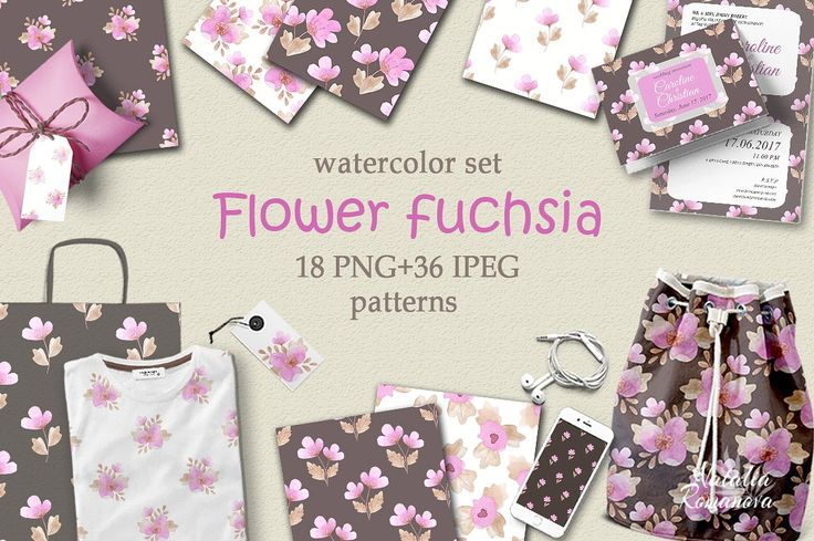 Flower fuchsia patterns watercolor  by Natali_art on @creativemarket