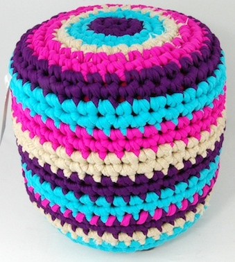 Foot stool crochet Zpagetti. Use brown, tan, and off-white and I could use some in the living room :)
