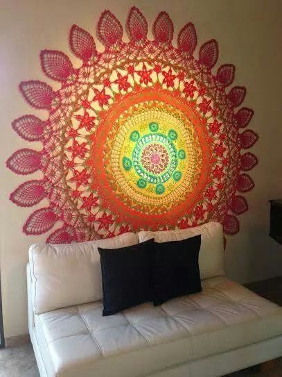 This beautiful large crochet mandala makes for the perfect wall piece.