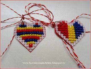 lucru manual adelina: Martisor etamina inimioare tricolore