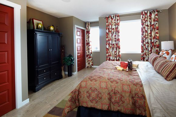 This master bedroom is the perfect size love the red for The perfect master bedroom