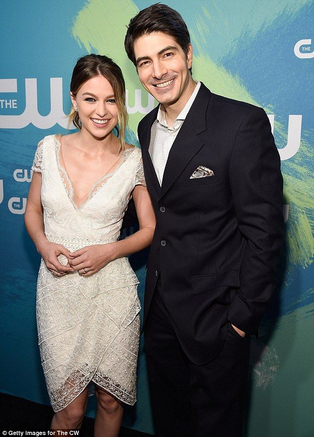 Supergirl's Melissa Benoist joins Superman Brandon Routh at CW Upfronts following move from CBS | Daily Mail Online