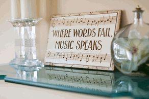 Music Decor wall plaque, Where Words Fail Music Speaks