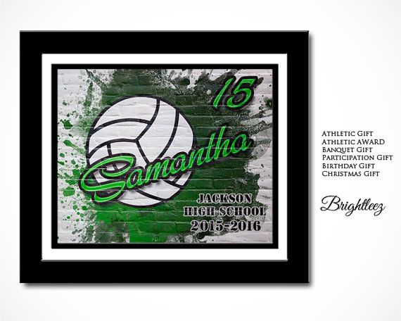 Personalized Volleyball Wall Art Print Gift  Your Volleyball player will be filled with pride having this personalized wall art print.  ITEM DETAILS: