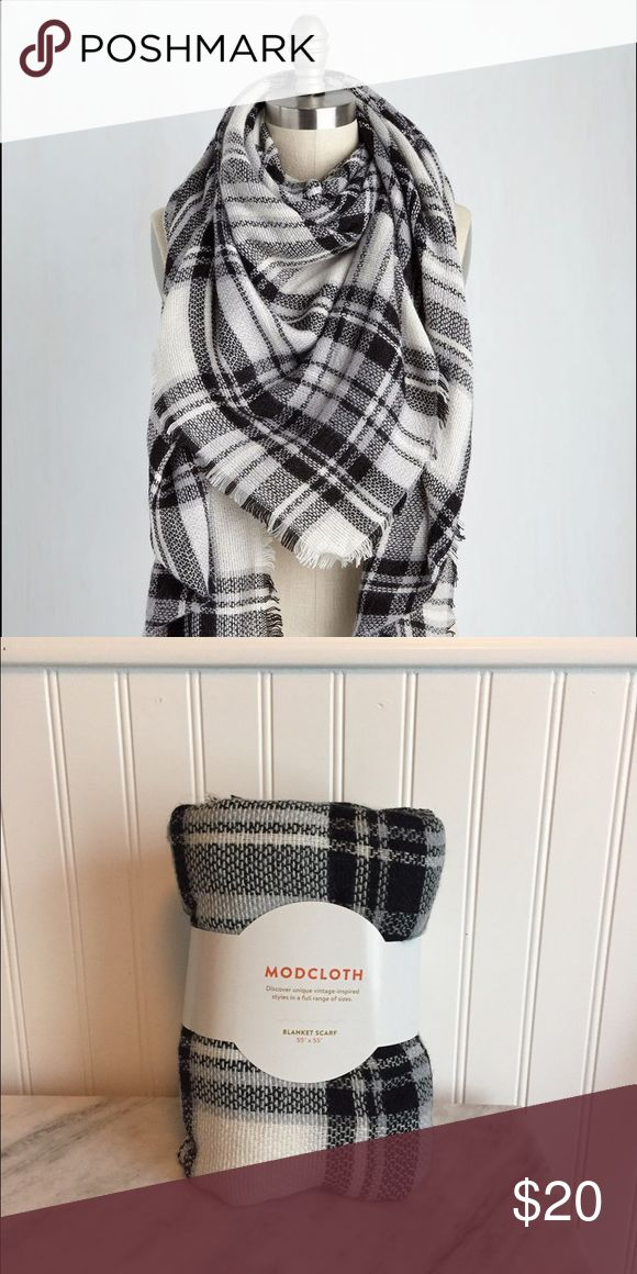 "Modcloth Loch & Key Blanket Scarf Classic blanket scarf in neutral black and white plaid. Super soft and new with tags. Perfectly on trend for the season. Measures at 55"" x 55"". No trades please :) ModCloth Accessories Scarves & Wraps"