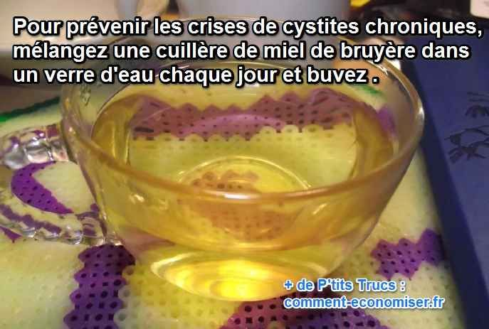 Vous cherchez un remède préventif et naturel pour prévenir les crises de cystite en complément d'un traitement médical ? Heureusement, il existe un remède de grand-mère pour traiter la cystite chronique. Il s'agit du miel de bruyère, de châtaignier ou de sapin.  Découvrez l'astuce ici : http://www.comment-economiser.fr/soigner-crise-cystite.html?utm_content=buffer7312d&utm_medium=social&utm_source=pinterest.com&utm_campaign=buffer
