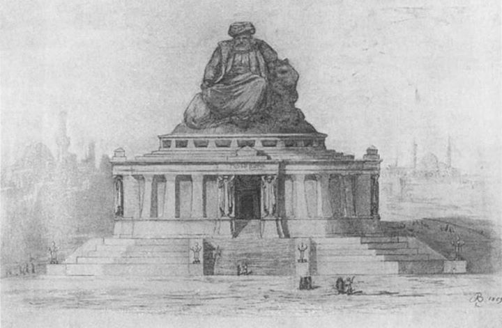 Frederic Bartholdi (artist behind the Statue of Liberty): Mausoleum project for Muhammad Ali. Engraving (1869).