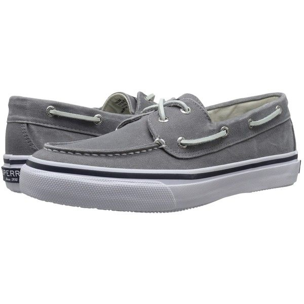 Sperry Top-Sider Bahama 2-Eye (Grey) Men's Slip on  Shoes ($60) ❤ liked on Polyvore featuring men's fashion, men's shoes, sperry mens shoes, mens gray dress shoes, mens shoes, mens sperry topsiders and mens boat shoes