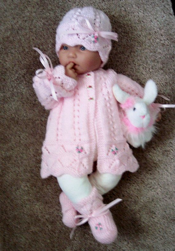 Custom handmade  knit baby girls pink scalloped edge Sweater hat booties set Layette PINK heart shaped buttons 0-12M Ready to Ship