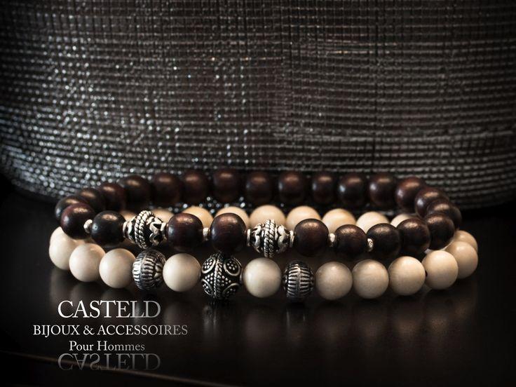 Bijoux pour hommes, le bracelet Bois ébène et le bracelet Blanc... Des créations…