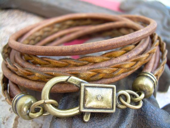 Leather Bracelet Antique Bronze/ Light by UrbanSurvivalGearUSA