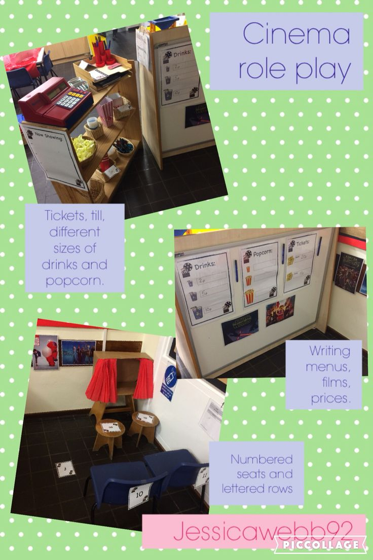 Cinema role play area. Tickets to write, till and money, film posters, coming soon, now showing, popcorn and drinks prices, ticket prices, seat numbers, lettered rows, large small and medium sized popcorn and drinks. EYFS