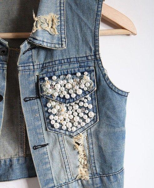 Pearl Embellishment Denim Vest with Epaulets: