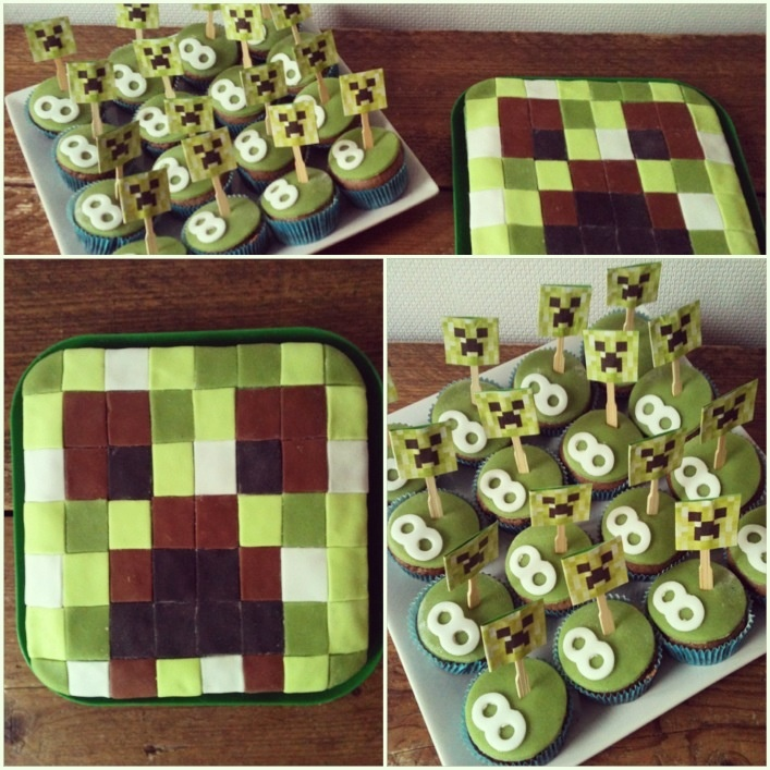 Birthday Cake Designs For 8 Year Old Boy : Minecraft birthday cake for a 8 year old boy + cupcakes ...