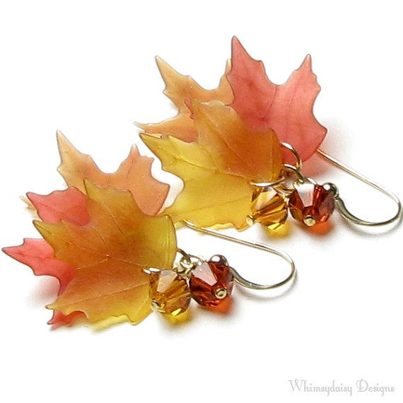Falling Leaves Autumn Harvest Swarovski Crystal 14K Gold Filled Rust Topaz Fall Leaf Earrings on Etsy, $30.00