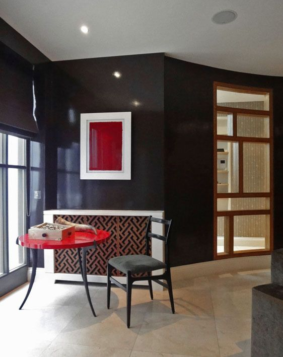 Aubergine Walls, Leather Radiator Screen, Red Lacquer U0027Sabreu0027 Table. Dark  Purple