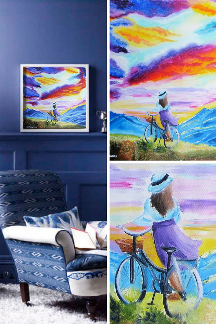 """The Sky, a Girl and a Bicycle. Original Oil Painting on Canvas. Perfect Gift for Her. Wall Decoration. Wall Art. Home Decor. Modern Art. Square. Landscape Painting. 40.6 х 40.6 сm. 16"""" x 16"""". 2017. Unframed. Ready to hang. Painted edges."""