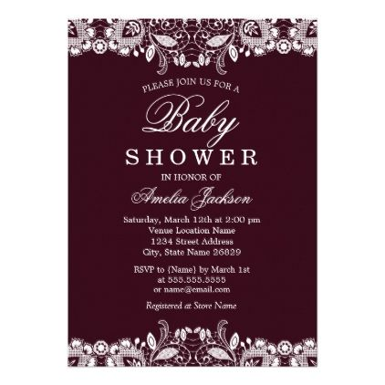 Vintage White Lace Burgundy Baby Shower Invitation - invitations custom unique diy personalize occasions