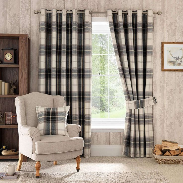 Highland Check Charcoal Lined Eyelet Curtains | Dunelm