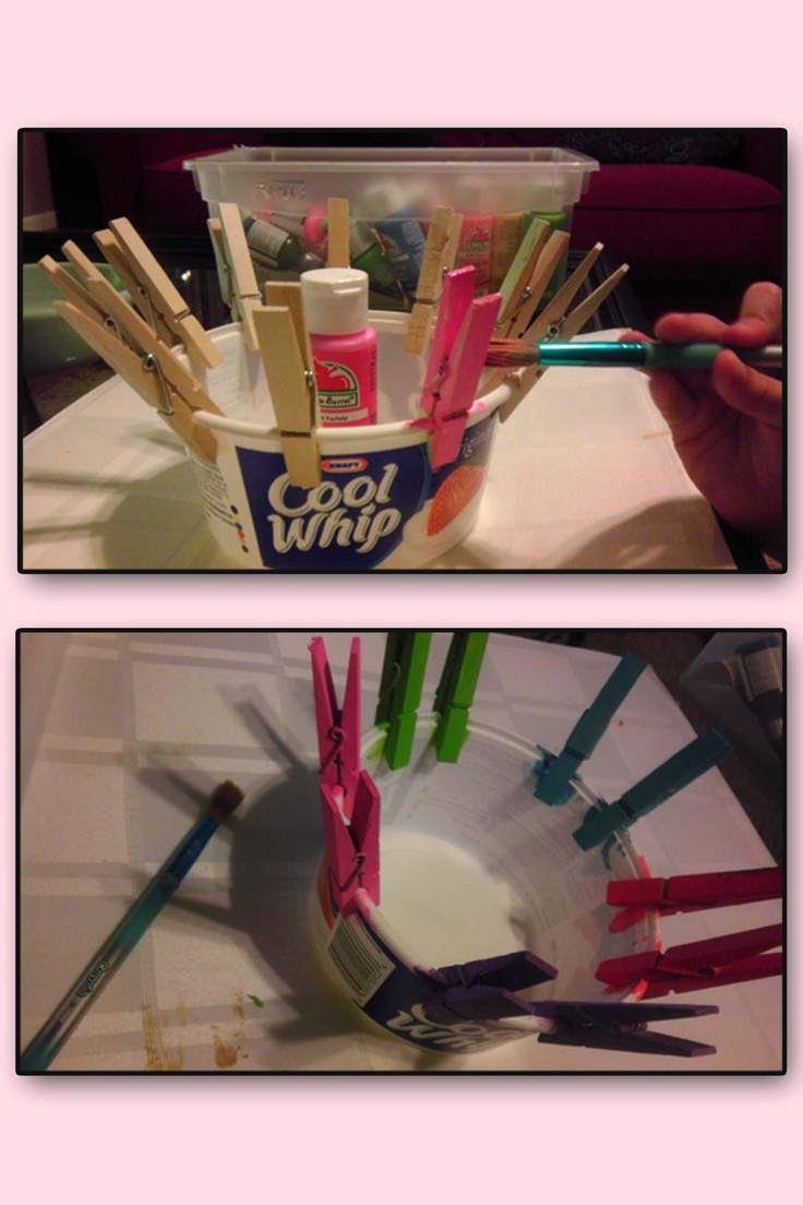 Hint for painting clothes pins - clip them to a Cool Whip container so you can paint all sides. Crafts, Art Projects