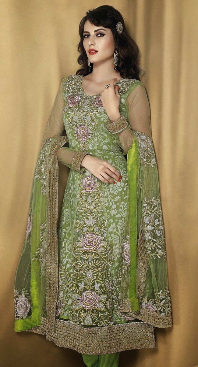 Tantalizing Parrot Green Salwar Kameez