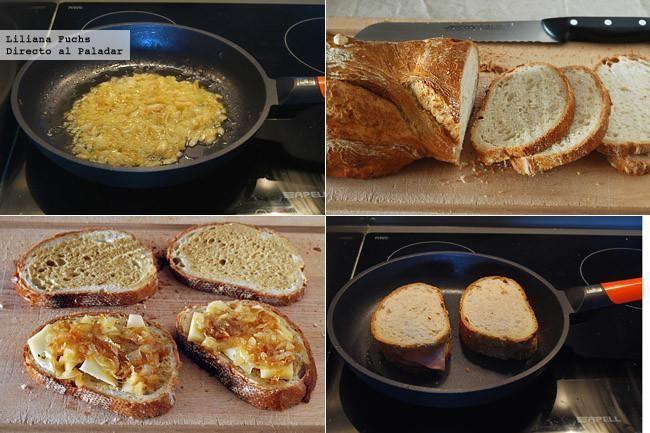 Sándwich de mortadela y queso San Simón con cebolla caramelizada