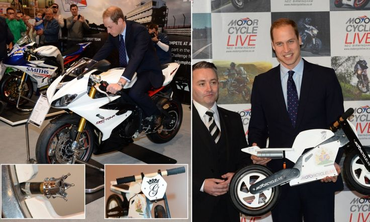 Mini motorbike for George: Prince William is presented with tiny bike