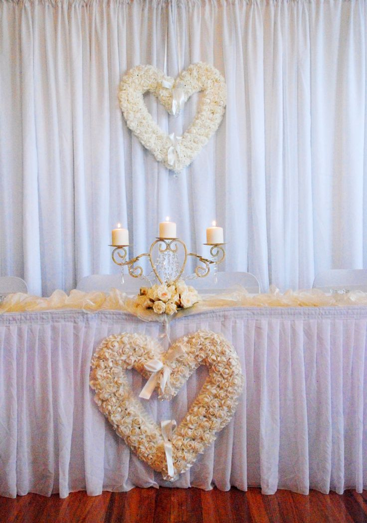 Rose Heart Hangings - used on Bridal Backdrop & Bridal Table Skirting