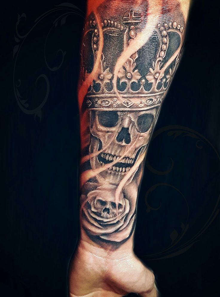 Skull crown rose tattoo Done by Billy Porter