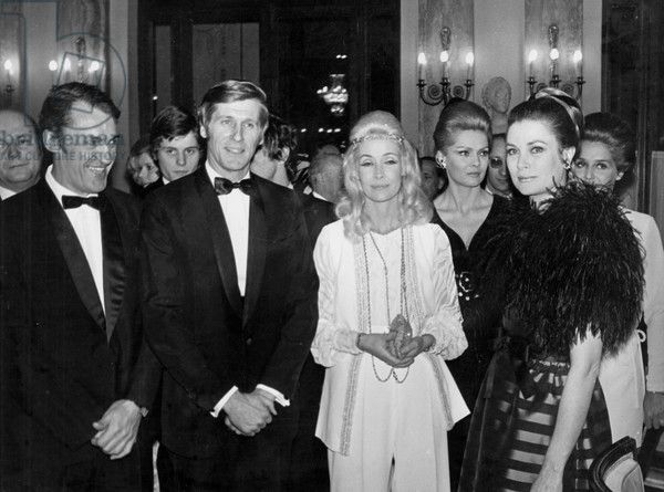 Gala of The Monte Carlo Television Festival (L-R) : Jacques Ary, Edward Meeks, Jacqueline Monsigny, Corinne Marchand and Princess Grace of Monaco on February 17, 1969