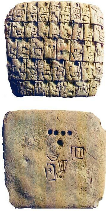 Babylonian tablet, 3100 B.C. Lexical pictorical list of 41 titles and professions, the reverse shows the scribe's signature, prpbably the world's oldest autograph signature. Pictographic lexical lists written in ancient Sumerian pictographic script on clay tablets are the earliest literature known, and also the earliest known evidence of school and Learning. 8,6 cm. Schoyen collection