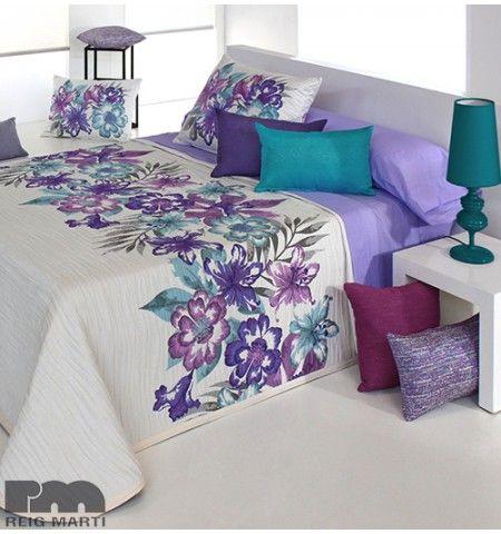 Couvre-lit tissé jacquard Fleuri violet