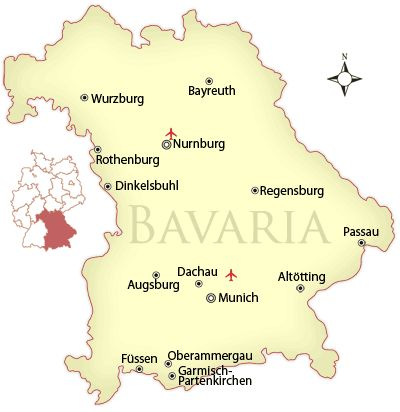 map of bavaria with cities | Map of Bavaria © James Martin, licensed to About.com