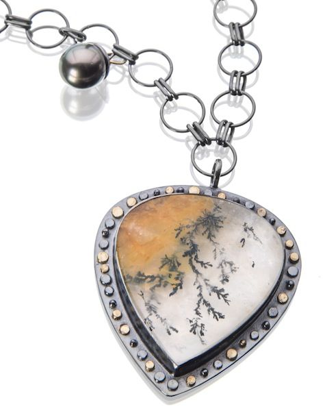 2254 best jewelry necklaces pendants images on pinterest dendritic quartz and tahitian pearl on a 36 chain that can be worn long or aloadofball Image collections